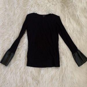 Black Leather Bell Sleeve Top